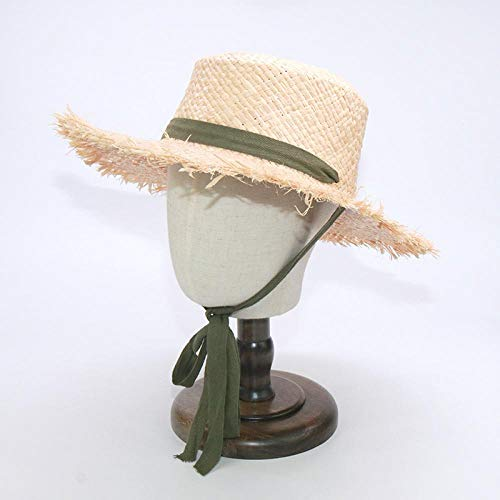 SFBBBO Sonnenhut Eltern-Kind-Hüte für Frauen Beach Sun Hats mit Mode Long Belt Visier Hut Adult57CM Armee