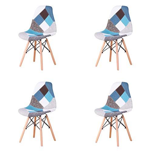 EGOONM Lot de 4 Chaise de Salle à Manger Multicolor Patchwork,Chaises en Tissu de Lin Loisirs Salon,Chaises avec Dossier à Coussin Souple (Bleu)