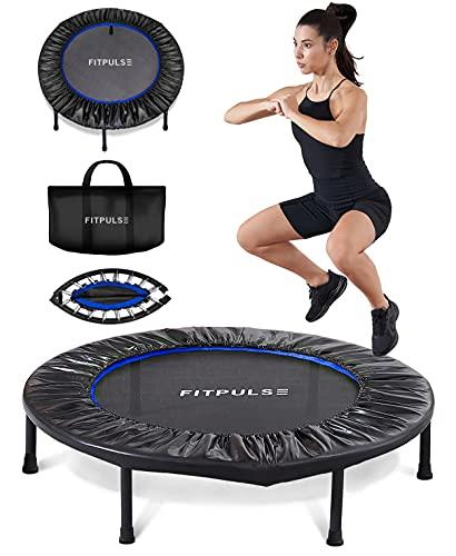 FITPULSE Mini Trampoline for Adults - Rebounder Trampoline Indoor Trampoline for Adults Small Trampoline Fitness Trampoline Exercise Trampoline for Adults Rebounder for Adults Trampoline Blue Ring