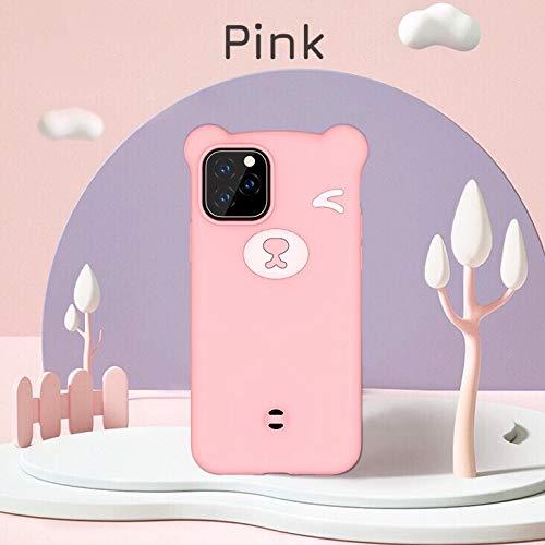 HüllerBay iPhone Hülle 3D Bär Cartoon Kawaii Smooth Touch Silikon Flexible Handyhülle mit Abnehmbarer Handschlaufe Rosa für 6,1 Zoll iPhone 11