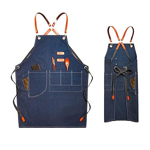 GNSN 1 delantal de tela vaquera para mujer y hombre con múltiples bolsillos para café, barbería, ropa de trabajo, Azul / Patchwork,...
