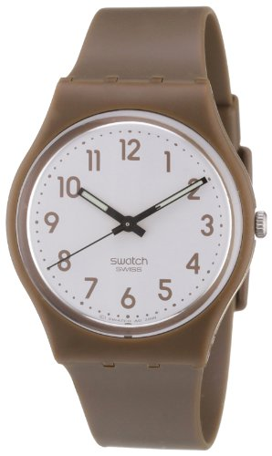 Swatch GC106 - Reloj analógico unisex de cuarzo con correa de plástico marrón
