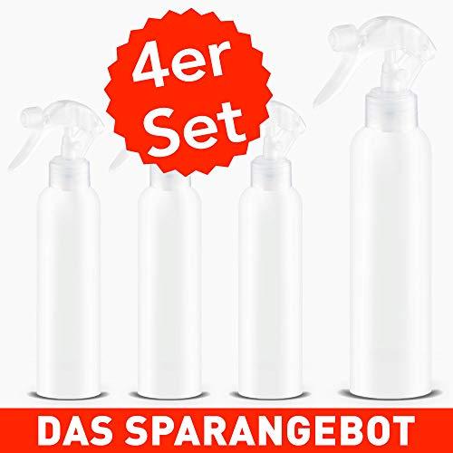 Sprühflasche 100ml klein - 4 Stück   Ideal für Desinfektonsmittel unterwegs   Reiseflaschen - Parfumzerstäuber - Flasche mit Sprühkopf - Wiederverwendbar (4)