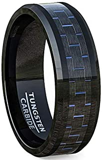 8mm Black Tungsten Carbon Fiber Rings for Men Blue/Green/Red Mens Wedding Band and Fashion Ring Beveled Edge Comfort Fit