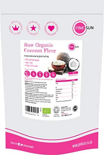 PINK SUN Rauw Biologisch Kokosmeel 1kg Fijn glutenvrij Bakmeel Lage Koolhydraten Vezelrijk Vegetarisch Veganistisch Niet GM 1000g Bulk Organic Coconut Flour