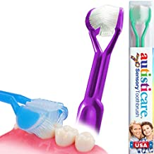 autisticare for Special Needs   The Only Child-Safe 3-SIDED Toothbrush   Made in USA   Fast, Easy & Clinically Proven   Autism ASD Autistic Asperger Therapy Parent Child Caregiver Tactile Sensory Calm