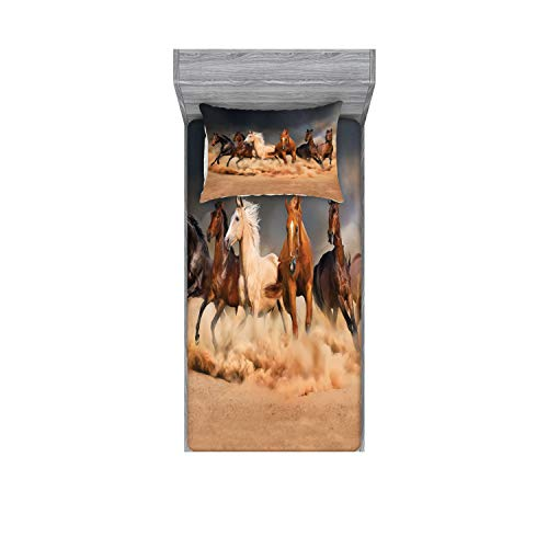 Ambesonne Horse Fitted Sheet & Pillow Sham Set, Equine Themed Animals Galloping in The Sand Running Horses Pattern, Decorative Printed 2 Piece Bedding Decor Set, Twin, Brown Charcoal