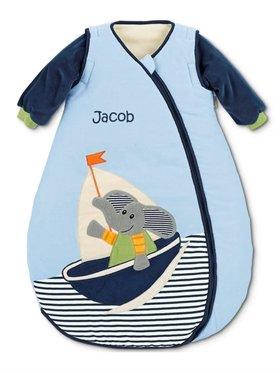 Babysutten Babyschlafsack mit Namen, Sterntaler, Elefant Ewald, 70 cm, hellblau/blau