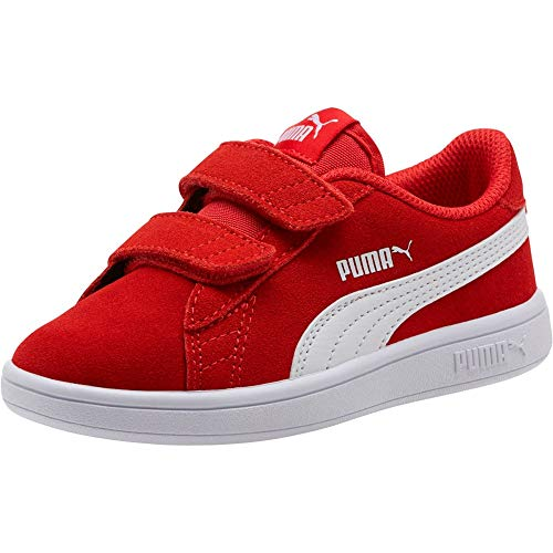 PUMA Unisex Kinder Smash v2 SD V PS Sneaker, High Risk Red White, 30 EU