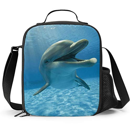 Delerain Dolphin Lunch Box, Insulated Lunch Bag with Handle and Shoulder Strap Cooler Picnic Pouch Food Bag for Kids Girls Boys Preschool Office Picnic