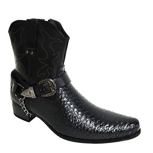 Alberto Fellini Men's Faux Leather Crocodile Print Cowboy Western-Inspired Boots J-Black