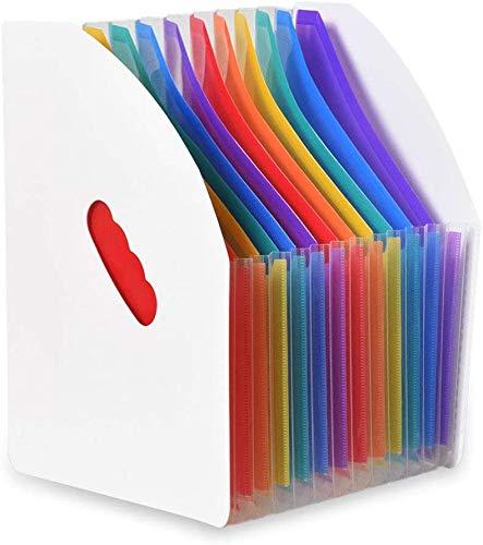 Queta Carpeta Clasificadora Documentos, Organizador de Documentos para Escritorio, Archivador de Acordeón 13 Bolsillos Color Arco iris, Archivador A4 Gran Capacidad para Office Escuela