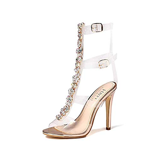 Bella Luna Hayden Women's Clear See-Through Crystal Rhinestone Stiletto High Heel Gladiator Sandal (8, Rose Gold)