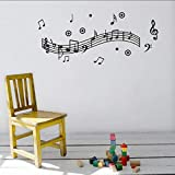 Pegatinas de pared,Musik Melody Wandaufkleber Wandtattoo Decoración para el hogar Arte Vinilo Daube Poster Für Wohnzimmer Musik Party Supply