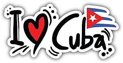 postwalldecor I Love Cuba Flag Slogan Alta Calidad De Coche De Parachoques Etiqueta Engomada 15 x 8 cm