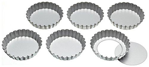 Kitchencraft latas de tartaleta con estrías de acero inoxidable KitchenCraft con bases sueltas, 10 cm (juego de 6)