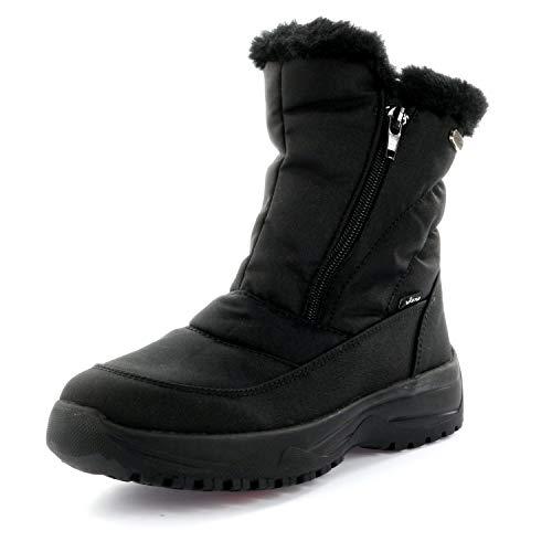 Vista Damen Snowboots Winterstiefel Stiefeletten EISKRALLEN schwarz, Größe:41, Farbe:Schwarz