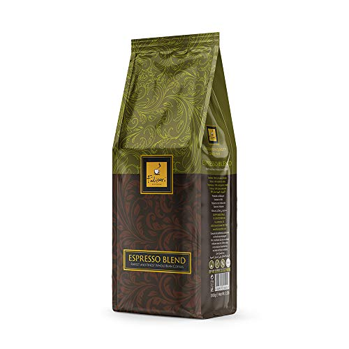 Whole Coffee Bean Italian Espresso Medium Dark Roast - ESPRESSO BLEND by Filicori Zecchini. Arabica and Robusta Blend. Roasted then blended. Made in Italy since 1919 - 2.2Lb (1kg) Bag
