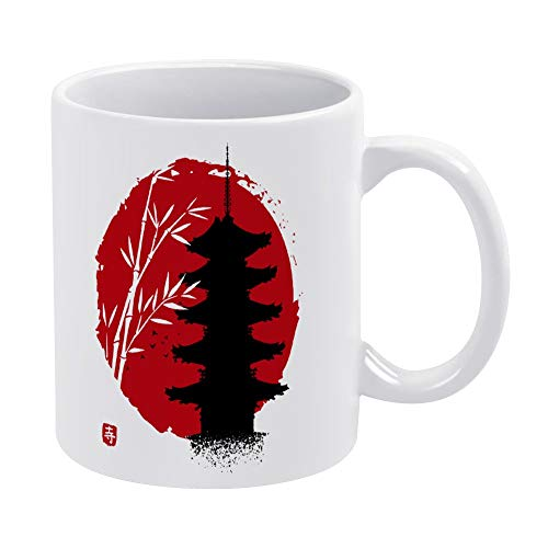 Bamboo Temple Sun Ceramic Coffee Mug, Best Coffee Tea Cup Unique Festival Birthday Present for Men Women