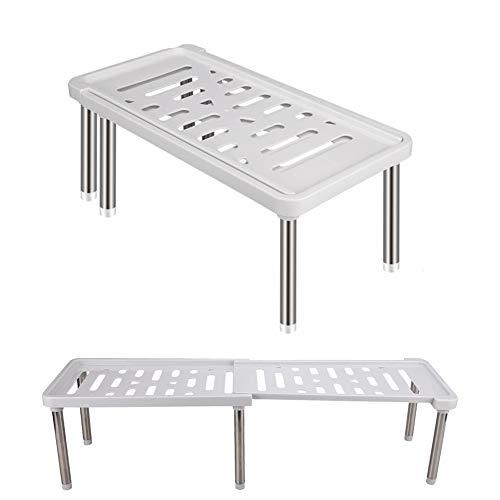 HEYOMART Organizador de armario de cocina, ampliable, estante para el hogar y la cocina, estante de almacenamiento multifunción para armarios de cocina, encimeras, despensas, 35 cm a 61 cm (gris)