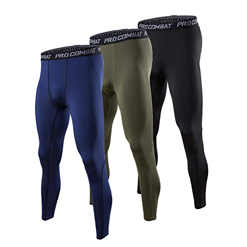 BUYJYA 3 Pack Men's Compression Pants Running Tights Workout Leggings Athletic Cool Dry Yoga Gym Clothes (Blue-Army Green-Black, M)