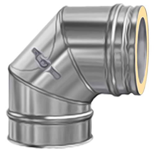 DW Complete Bogen 90° mit Reinigungsöffnung flach 130mm 25mm Dämmung Ofenrohr Rauchrohr Kaminrohr Doppelwandig Edelstahlschornstein Isoliert gedämmt Knie