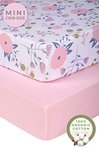 Pickle & Pumpkin Mini Crib Sheets Set | 100% Organic Jersey Cotton 2 Pack Pack N Play Sheets | Baby Girl | Ideal as Graco Pack and Play Mattress, Playpen or Playard Sheets | Pink & Floral Sheets