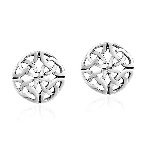Mystically Intricate Celtic Knot .925 Sterling Silver Circle Stud Earrings
