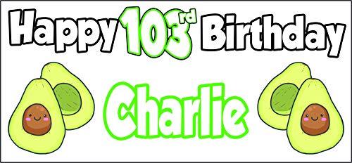 Cartel personalizable con temática de aguacate para 103 cumpleaños, decoración de fiestas, hijo, abuelo o papá, para hombre, hija, nan, mamá, cualquier nombre (paquete de 2)