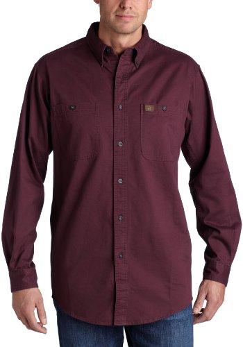 Wrangler Riggs Workwear mens Logger Twill Work Shirt ,Burgundy ,Large