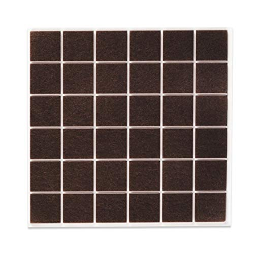 Filzada® 36x Feltrini autoadesivi - 25 x 25 mm quadrato - Marrone - Feltro professionale per mobili scivola con potere adesivo ideale