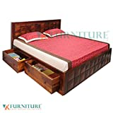 VK Furniture Sheesham Wood Queen Size Bed With Side 2 Drawers Storage Honey Brown