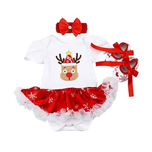 FYMNSI Beb Nia Mi Primera Navidad Vestido rbol de Navidad Calcetines Reno Impreso Princesa Tut Falda + Diadema + Zapatos Conjunto de Ropa 3pcs Infantil Fiesta Fotografa Disfraz Blanco Reno 0-3M