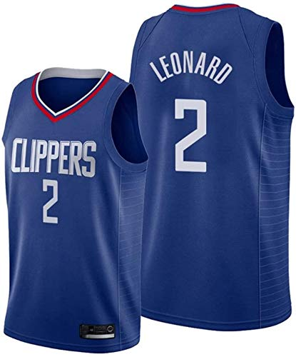 June Bart Canotta NBA,Donne Jersey Uomo - NBA Clippers 2# Leonard Maglie Traspirante Ricamati Pallacanestro Swingman Jersey