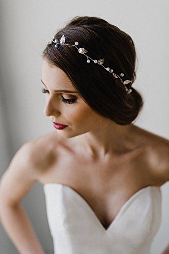 Simsly Mariage Cheveux Vines mariée Bandeaux avec feuilles Accessoires pour brides et Demoiselles d'honneur (Gold) Fs-041