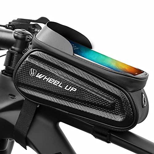 Bolsa Bici, pantalla táctil para teléfono de 7.0' Bolsa impermeable para tubo superior de bicicleta, bolsa para sillín de viga delantera de carcasa rígida Bolsa para ciclismo al aire libre,23×11×14cm