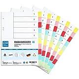 Ringbuchregister, 5er Set, 10-teilige DIN-A5 Register, 16,3 x 21,5 cm, gelocht, 160g/m², DIN-A5 Format, Trennblätter mit beschreibbarem Deckblatt für A5 Ordner