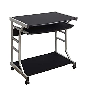 The Mezzanine Shoppe Berkeley Home Office Rolling Computer Table Desk with Pull Out Keyboard 27.5  Black