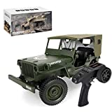 DSXX 1/10 RC Military Truck with Carport, 4WD 2.4 GHz Remote Control Jeep Off-road Vehicle RC Military Climbing Car with LED Lighting for Adults and Kids