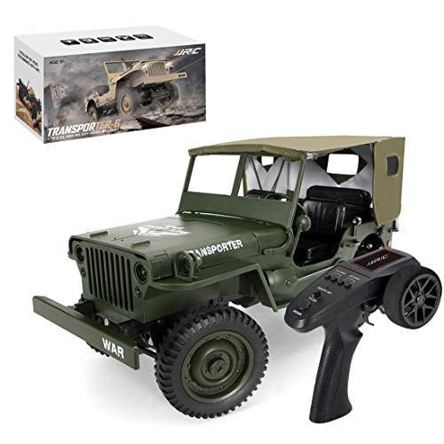 DSXX 1/10 RC Militär Truck mit Carport, 4WD 2,4 Ghz Ferngesteuert Jeep Geländewagen Ferngesteuertes Militärfahrzeug mit LED Beleuchtung, für Erwachsene und Kinder
