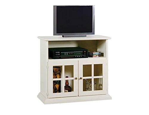 Meuble vitrine TV TV TV avec 2 portes en verre et 1 compartiment à jour en bois