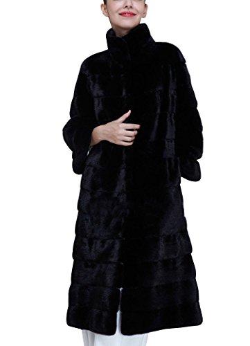 Damen Lang Faux Fur Kunstfell Jacke Kurz Mantel Coat Luxuriös Kunstfell Dick Falsch Fell Mantel L Schwarz