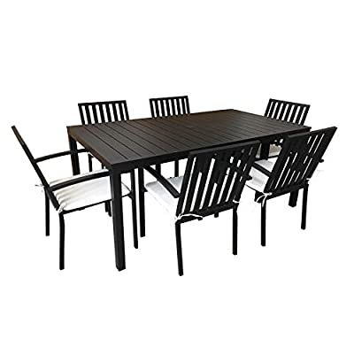 Quality Outdoor Living 65-YZ07HD Hudson 7-Piece Outdoor Dining Set, Black
