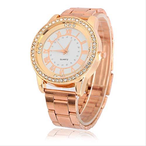 Dames Horloge Metaal Staal Riem Quartz Horloge Rome Horloge Diamond-Encrusted Rose Goud