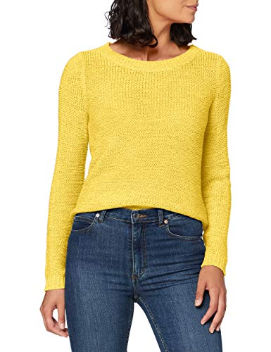 Only onlGEENA XO L/S Pullover KNT Noos Pull, Jaune (Solar Power Solar Power), 42 (Taille Fabricant: Large) Femme