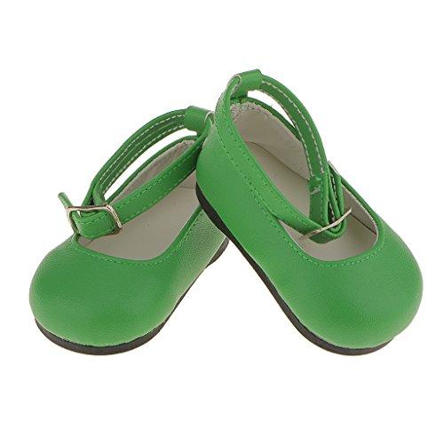 Generic Coloré Chaussures Dolly Flat Ankle Strap en Cuir Verni Pour 18 inch Poupée Dolls Décoration - Vert