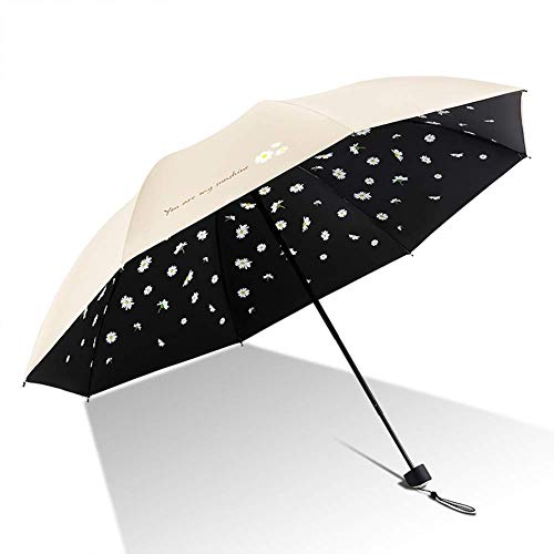 GPWDSN Paraguas Bloqueador Solar Tres Paraguas Plegables, portátiles, pequeños, Ligeros, Impermeables, Soleado y bajo la Lluvia, de Doble propósito, Beige