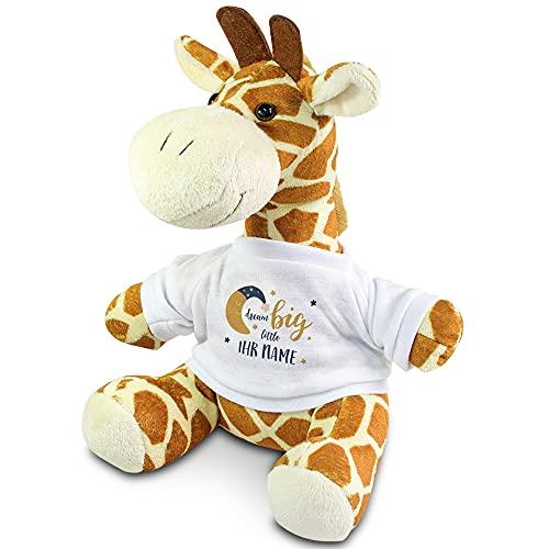 printplanet - Kuscheltier Giraffe mit Namen oder Text personalisiert - Motiv: Dream Big - Stofftier, Plüschtier, Kinderzimmer