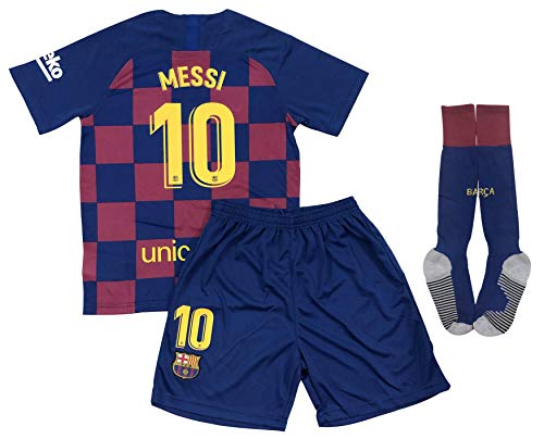 New 2020 Messi Home Jersey Shorts & Socks for Kids/Youths (X-Large 11-13 Years Old) White
