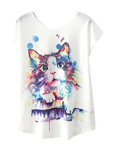 YICHUN Femme Fille Léger Tops Court T-Shirt de Loisir Tee-Shirt Tunique Tees Chemisier Camisole...